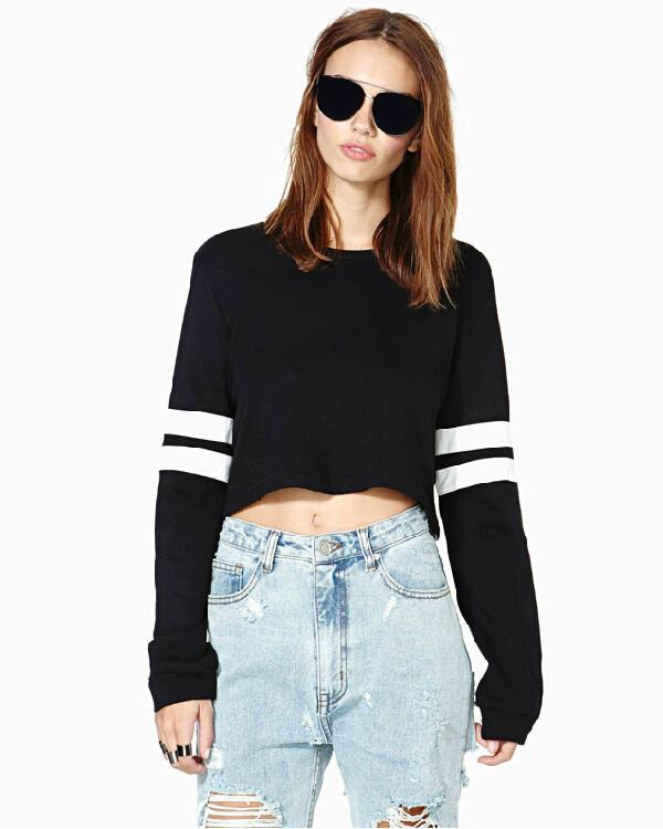 Ribbed Knit Solid Color Short Crop Sweatshirt - Bags in Cart - 1
