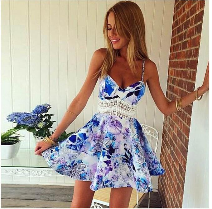 Flower Print Spaghetti Strap Sleeveless Open Back Short Dress - Shoes-Party - 2
