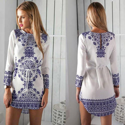 Floral Print Irregular Long Sleeves Short Dress - Shoes-Party - 1