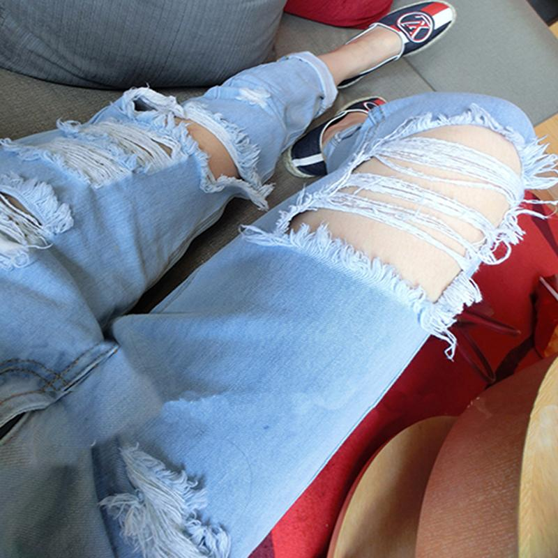 Beggar Style Cut Out Rough Holes Curled Long Jeans