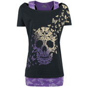 Skull Print Short Sleeves T-shirt with Tank Top Two Pieces Set