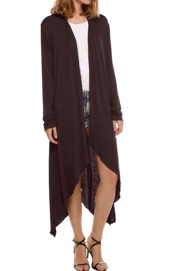 Pure Color Irregular Long Knit Wear Coat