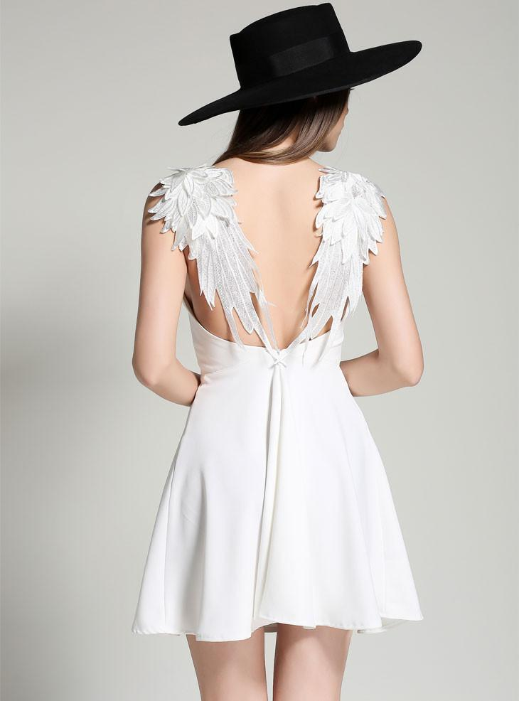 Spaghetti Strap Lace Wings Backless Sleeveless Short Dress - Shoes-Party - 4