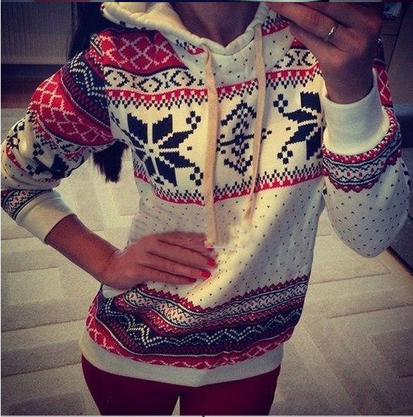 Geometric Print Sports Hooded Pullover Slim Hoodie