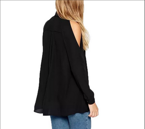 Shoulder Out Long Sleeves Pure Color Turn-down Collar Blouse