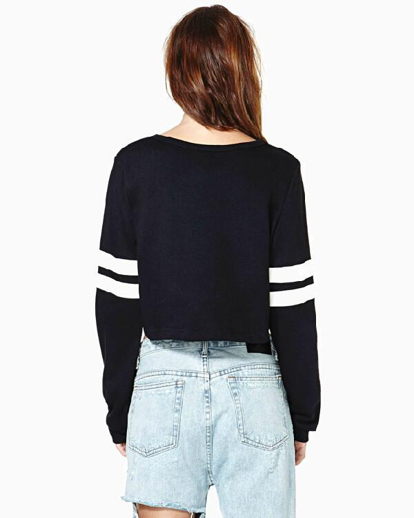 Ribbed Knit Solid Color Short Crop Sweatshirt - Bags in Cart - 6