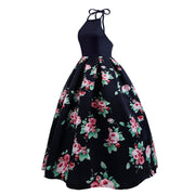 Halter Sleeveless Flower Print Patchwork Flared Maxi Dress