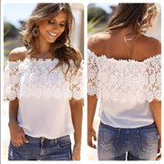 Lace Off-Shoulder Strapless Floral Patchwork T-shirt - Bags in Cart - 1