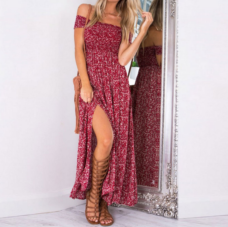 Off Shoulder Floral Print Split Long Dress