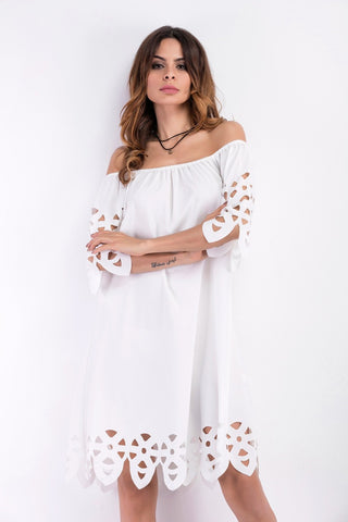 Off Shoulder Half Sleeves Loose Beach Knee-length Dress