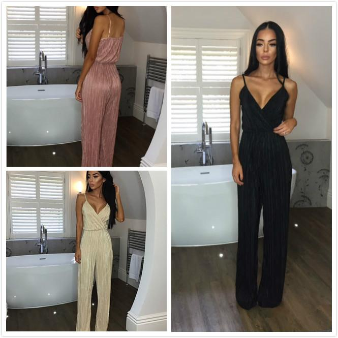 Spaghetti Straps Deep V-neck Pure Color High Waist Long Jumpsuit