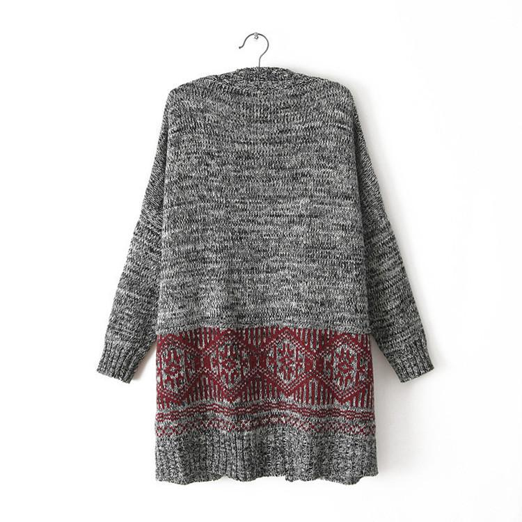 Cardigan Knit V-neck Long Loose 3/4 Sleeves Sweater - Bags in Cart - 4