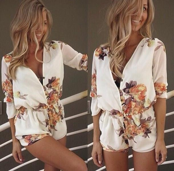 Chiffon Flower Print V-neck Long Sleeves Short Jumpsuits - Meet Yours Fashion - 1