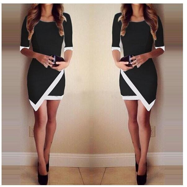 Slim Half Sleeve Patchwork Bodycon Mini Dress - Shoes-Party - 2