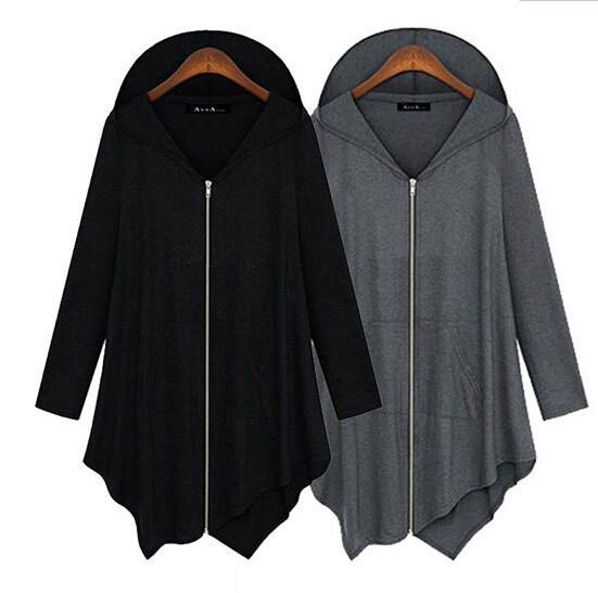 Zipper Asymmetric Large Cardigan Hooded Solid Color Hoodie - Bags in Cart - 4