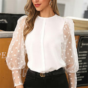 Vintage Blouse See-through Sleeve Sexy Polka Dot Print Blouse O Neck Lady Office Shirt Tunic Casual Loose Tops