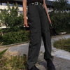 High Waist Wide Leg Plain Pockets Pants