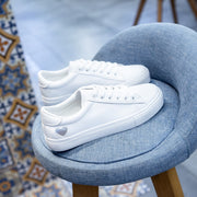 White Heart Lace-up Platform Sneakers