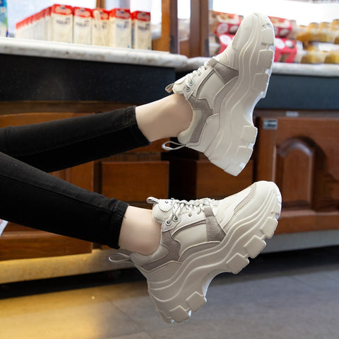 Lace Up Color Block Platform Chunky Sneakers