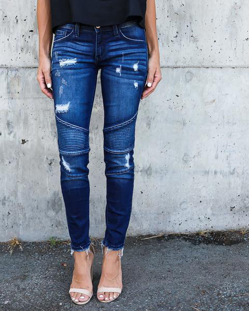 Stretch Pleated Bodycon Skinny Ankle Length Denim Pants