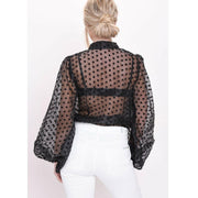 Polka Dot Retro Blouse Lady Early Autumn Modern Mesh Shirt Vogue See-through Loose Button  Puff Sleeve Blouse