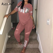 Women Two Piece Set Solid Letter Print Tracksuits Short Sleeve Plus Size T-Shirt Top Pants Set Suits Casual Sport Suit Gym Wear