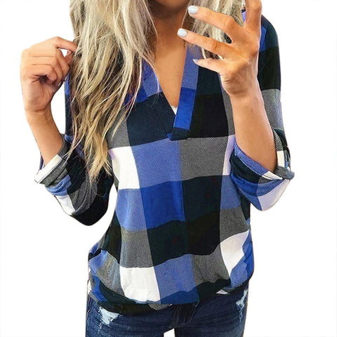 Womens Tops And Blouses Plus Size Autumn Women'S Plaid Blouse Shirts Sexy V Neck Female Blouses