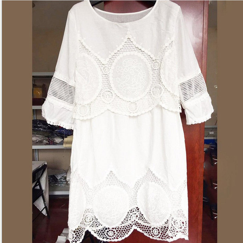 Pure Color Lace Hollow Out Short Dress