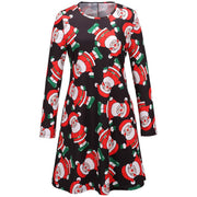 Christmas Cartoon Print A Line Tight Dress