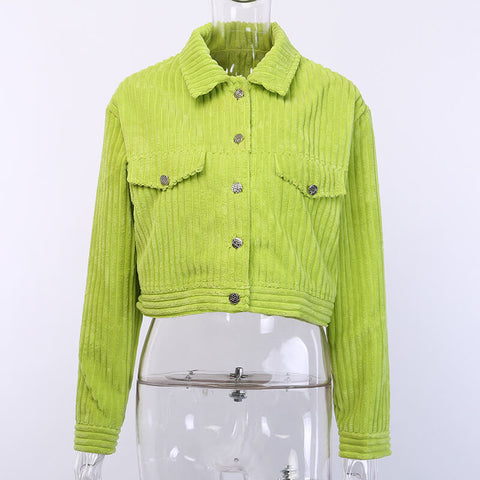 Corduroy Cropped Shirt Jacket