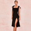 Black Slits A Line Dress