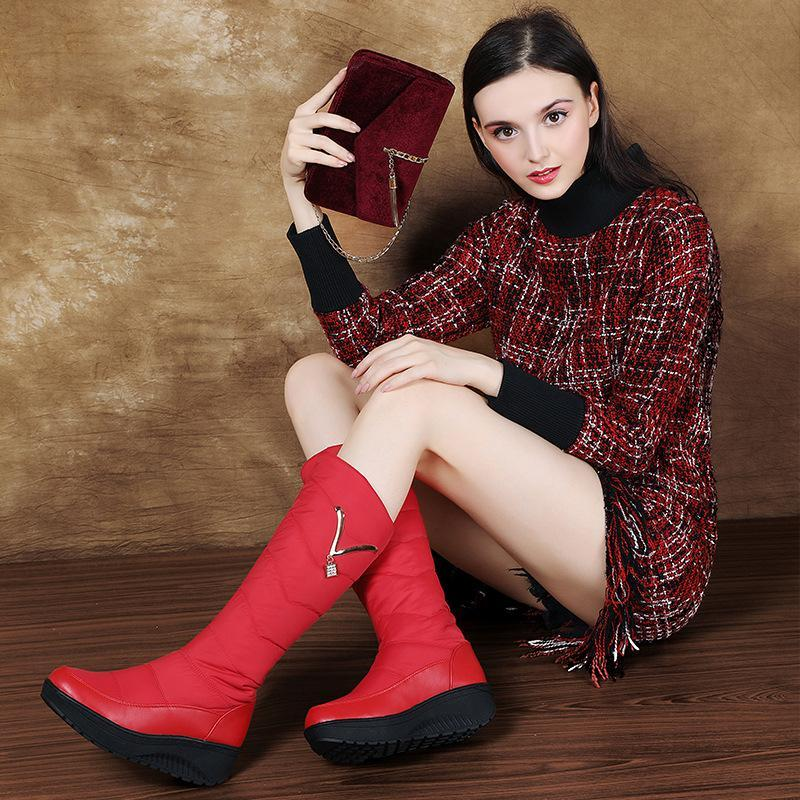 Winter Wedge Flat Round Toe Knee High Boots