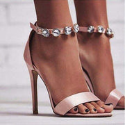 Pink Rhinestone High Heel Cutout Sandals