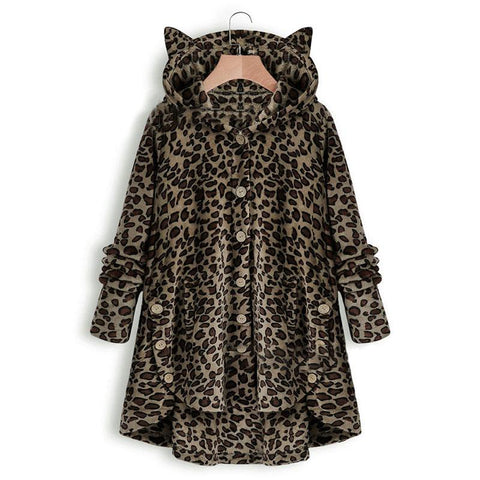 Leopard Hooded With Cat Ear Coat