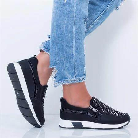 Fashion Chunky Leather Rhinestone Zipper Sneakers