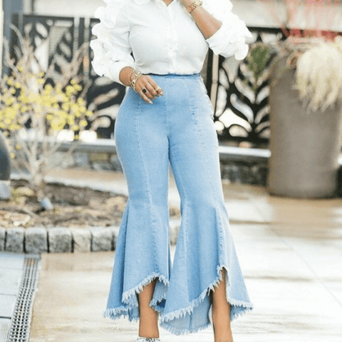 Sexy Flare High Waist Denim Bodycon Blue Pants