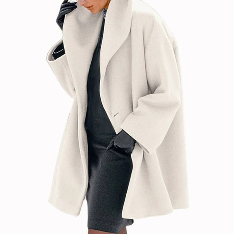 Plain One Button Wool Coat