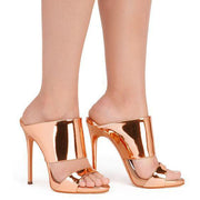 Light PU Stiletto Heel Open-toe Slippers Sandals