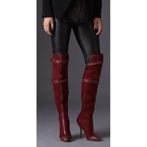 Side Straps Lace Up Suede Stiletto Heel Pointed Toe Over the Knee Long Boots
