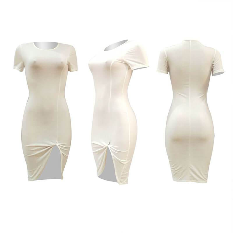Plus Size Sould Tight Bodycon Midi Dress
