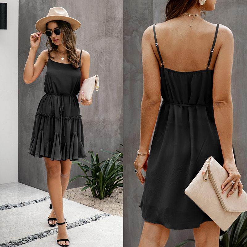 Soild Empire Waist Short Summer Dress