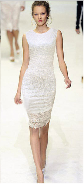 Slim Lace O-neck Sleeveless Knee-length Dress - Meet Yours Fashion - 1