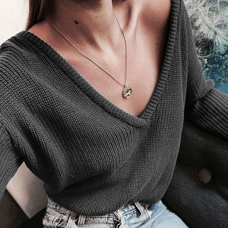 Deep V-neck Pure Color Pullover Sweater