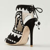 Color Block Strap Suede Cutout High Heel Sandals