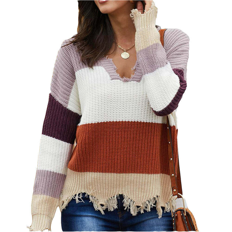 V Neck Colorblock Frayed Sweater