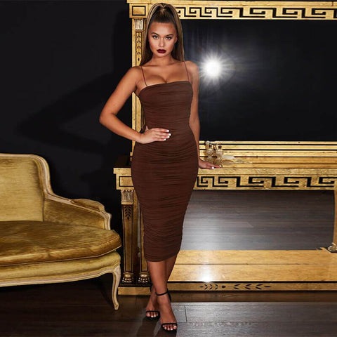 Sling Ruched Bodycon Dress