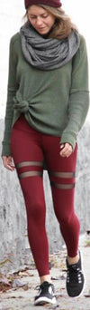 Mesh Patchwork Pure Color Long Slim Leggings