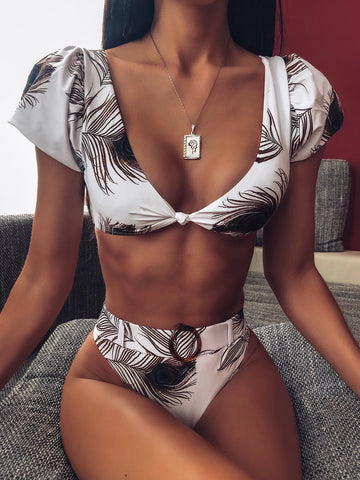 Print Belt High Rise Thong Bottom Bikinis