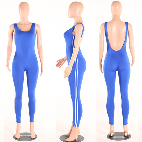 Stripe Onepiece Backless Skinny Sport Jumpsuits