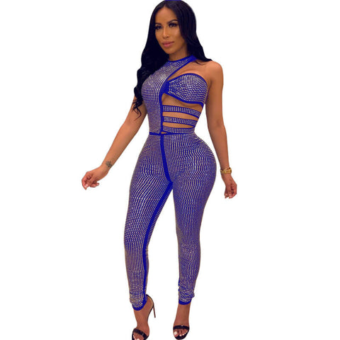Party Sleeveless Bodycon Rhinestone Irregular Cutout Jumpsuits